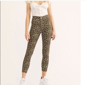 Free People Leopard Print Skinny Jeans We The Free